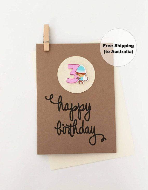 3rd Birthday Card – 3rd Happy Birthday Card – Age 3 Happy Birthday Card – Third Happy Birthday Card – Happy 3rd Birthday Card