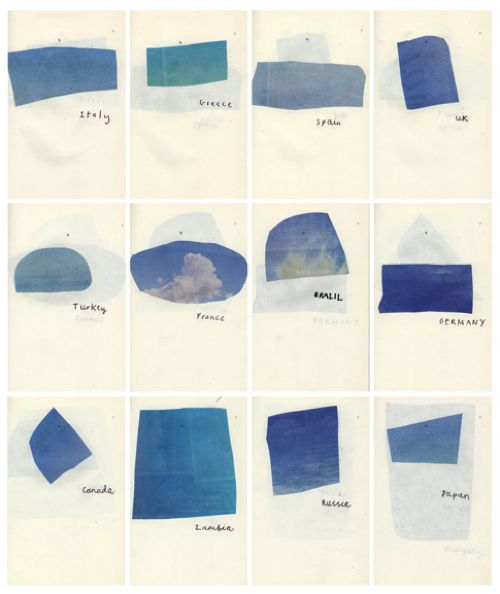 'Joseph Pielichaty's Blue Skies, a collection of sky photos clipped from the travel section. A portable vacation.'