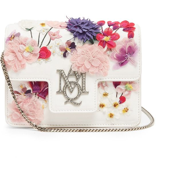 Alexander McQueen Insignia embellished leather shoulder bag (118,965 INR) ❤ liked on Polyvore featuring bags, handbags, shoulder bags, white leather handbags, summer handbags, leather shoulder bag, white purse and shoulder strap handbags