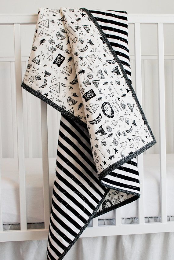 100 Cotton Baby Blanket Black And White Adventure Newborn Baby Quilt Black And White Stripes Bear Baby Shower Gift Baby Boy Blanket Cotton Baby Blankets Baby Boy Blankets Baby Blanket