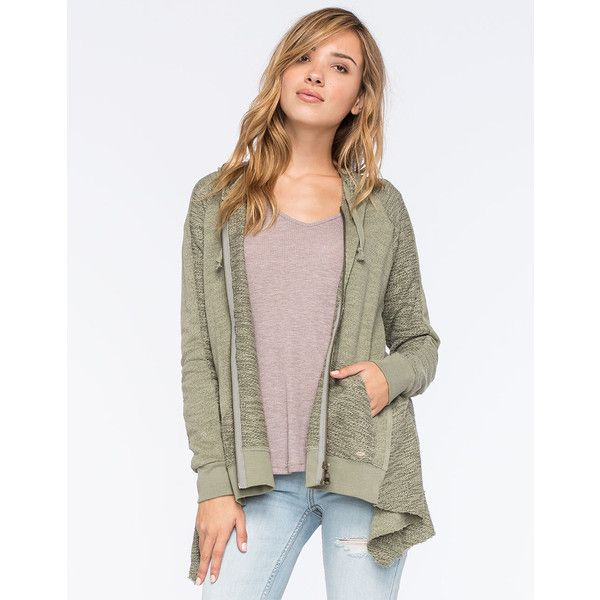 O'Neill Shore Womens Hoodie ($69) ❤ liked on Polyvore featuring tops, hoodies, olive, brown zip up hoodie, zip up hooded sweatshirt, long zip up hoodie, zip hoodie and long zip hoodie