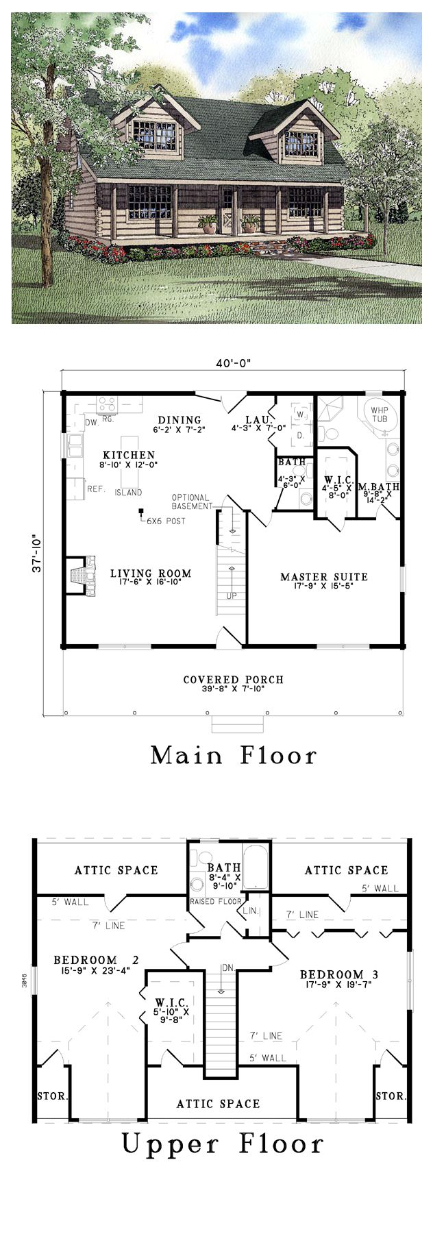 Log house plan 61151 total living area 2043 sq ft 3 for Country log home plans