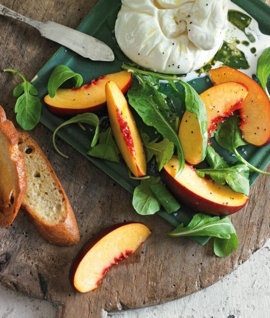 Nectarines with Arugula & Burrata Cheese