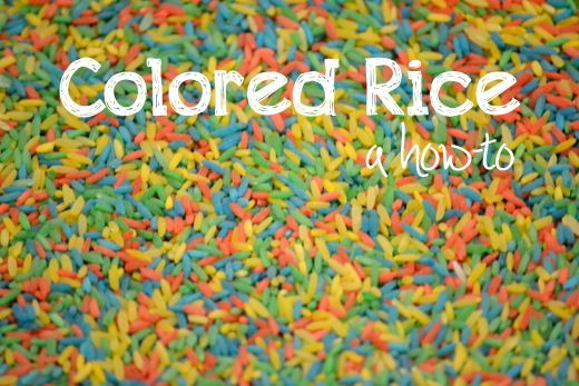 How to Color Rice, put in a ziplock bag with a bit of rubbing alcohol and food colouring, mix up, put onto baking dray and spread out to dry.