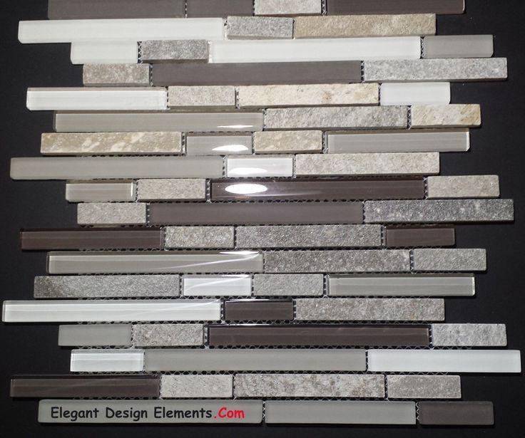 Gray Quartz Stone Mosaic with Light Gray Glass Tile Kitchen Backsplash (Z35)