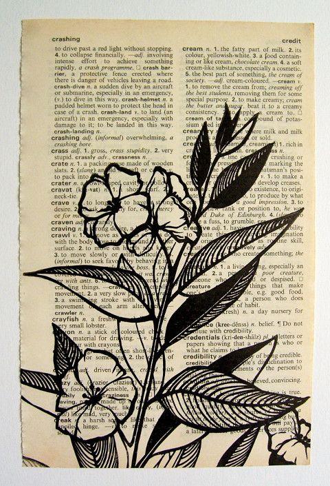 Jezze Prints: block print on dictionary page