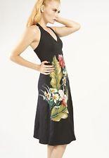 NWT Black Linen FOAT Floral Halter Dress with Vintage Applique, Size XS, S, M, L