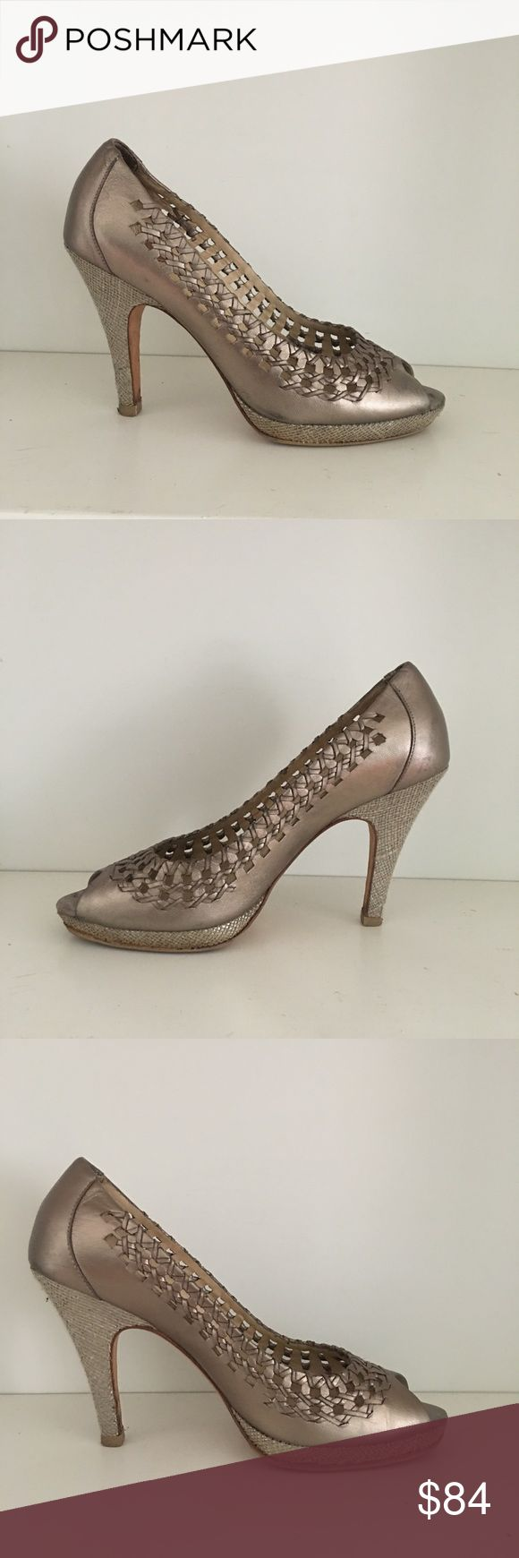 Cole Haan Nike Air gold peep toe heels Good condition Cole Haan super comfy pumps with Braided leather details.  Slight wear shows on the heels but no major flaws. Cole Haan Shoes Heels