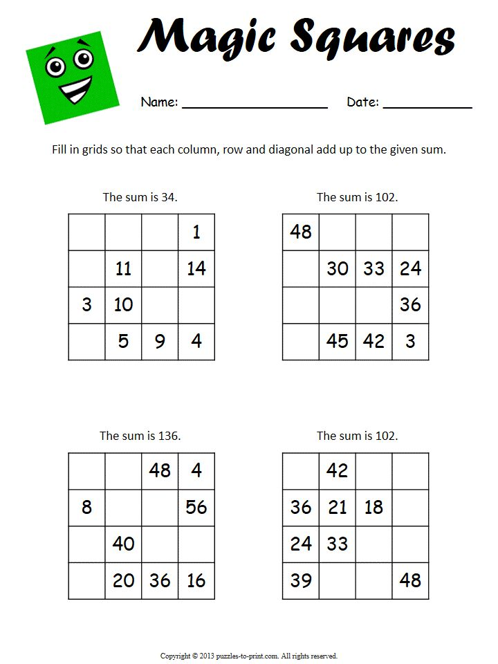 This worksheet has four 4x4 magic squares that require students to fill in the missing numbers so that the desired sum results.  Good for addition practice.