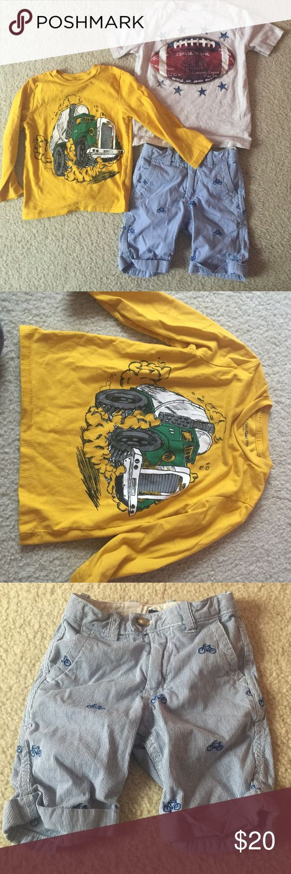 EUC Lot of boys baby Gap clothing (size 4t) EUC two tops and a pair of shorts. Shorts have bicycles on them. Football shirt is a size (4/5) GAP Shirts & Tops Tees - Short Sleeve