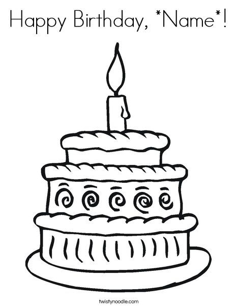 personalize a coloring page.  great for card.   Happy Birthday, *Name* Coloring Page