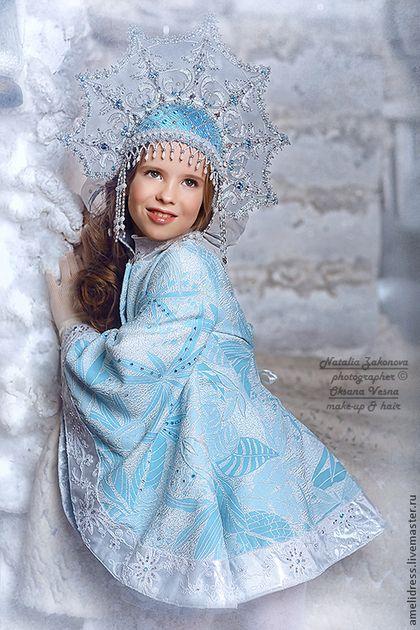 Детские карнавальные костюмы ручной работы. Ярмарка Мастеров - ручная работа. Купить Карнавальный костюм. Снегурочка. Handmade. Голубой, кокошник