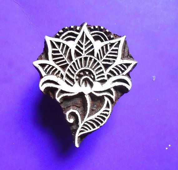 Art Nouveau Flower Wood Hand Carved Stamp Indian Fabric Clay Pottery Print Block