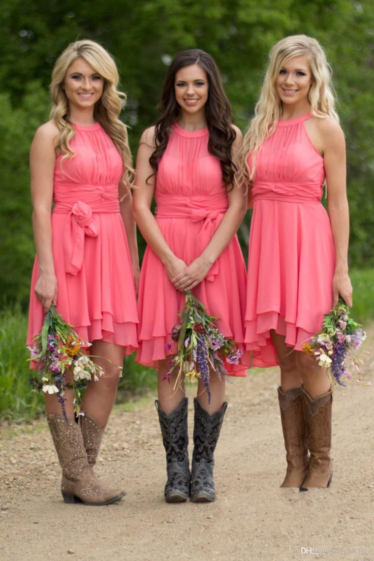2016 Cheap Country Coral Bridesmaid Dresses Jewel Neck Chiffon Knee Length Wedding Guest Wear Party Dresses Maid of Honor Gowns Under 100
