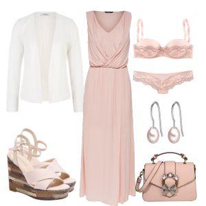 Im Fokus dieses schicken Abend Outfits für Frauen steht das tolle Cocktailkleid mit Spitze. Dazu haben wir einen offenen Blazer und tolle High Heels …