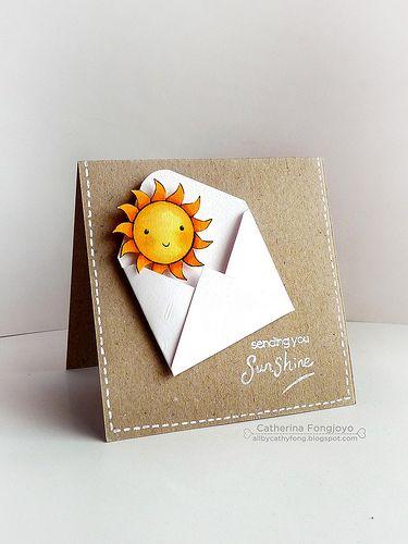 handmade card: Sending you sunshine ... kraft base card ... gel pen faux stitching ... folded envelope with sun emerging ... lub iy!