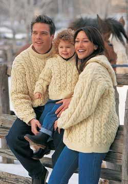 This great aran cable pullover pattern includes versions with crew neck and with a hood, and also comes in sizes for men, women and children.