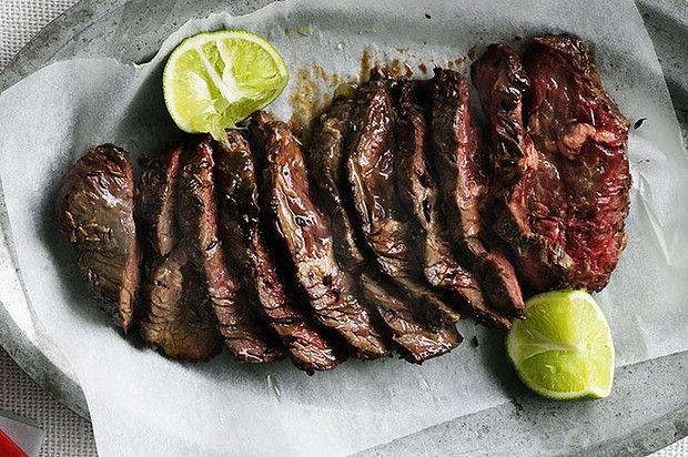 Grilled skirt steak for tacos.
