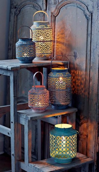 Morrocan Lanterns, would like to have these for my home someday.