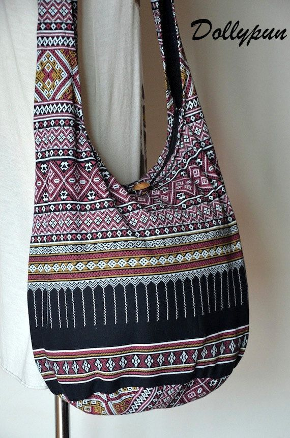 SPECIAL ♥ Buy any items, get 10% discount Minimum Purchase: $17 Coupon Code: SPECIAL10OFF Black Bohemian Bag Ethnic Bag Hobo Bag Cotton Shoulder Bag Crossbody Bag Boho Bag Sling Bag Hippie Bag Messenger Bag Hmong Purse with Zipper Bohemian bags are in the moods right now! This lovely crossbody bag in 100% cotton, featuring a gorgeous abstract tribal pattern. The bag has an inner zipped pocket and it closes with a top zip closure. Measurements -- Wide: 17.5 -- Height: 13.5 -- Depth: 9…