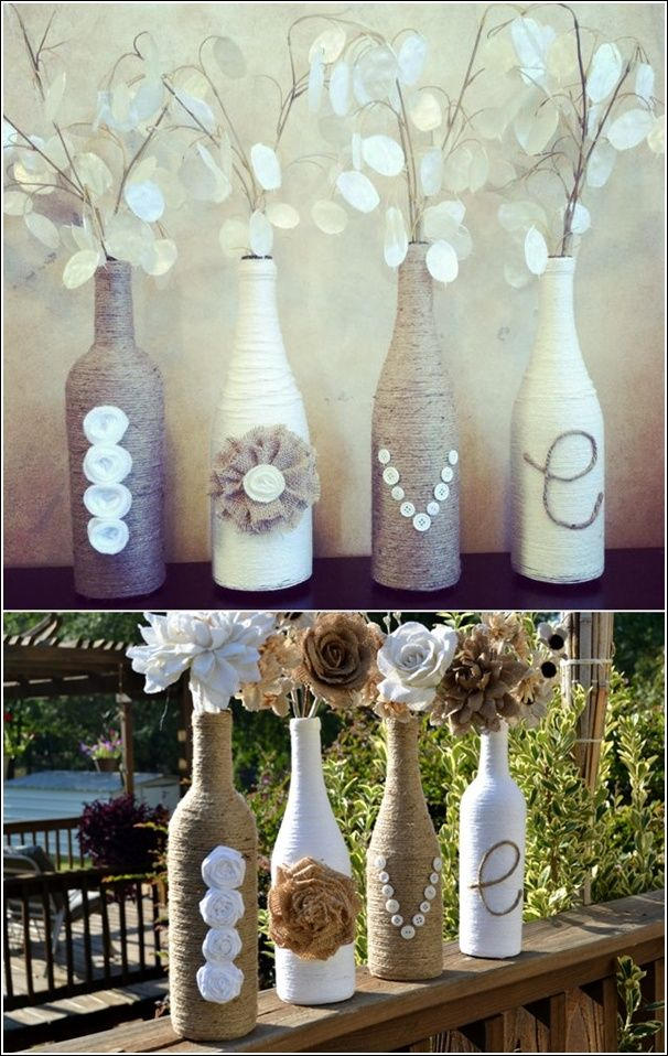 These Wine Bottles Got Wrapped in Twine and are Awesome Vases Now. Can do with wedding anniversary or last name letters on piano or fireplace