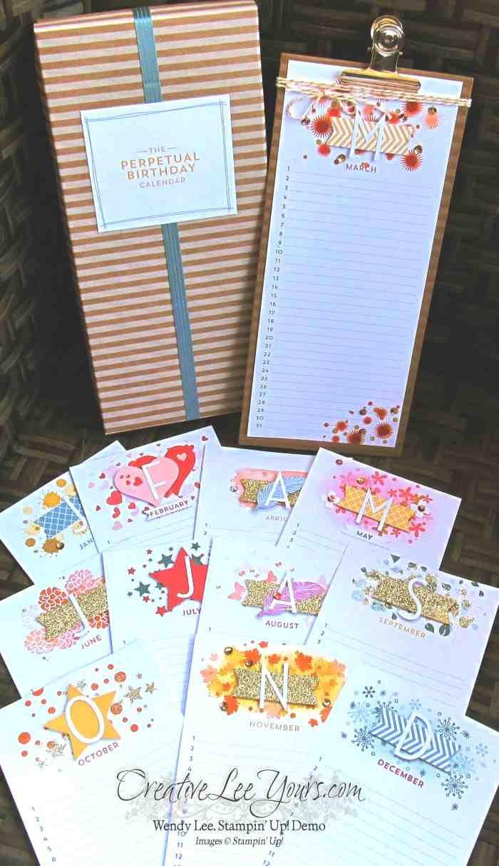 Stampin Up Calendar Ideas : Perpetual birthday calendar by wendy lee