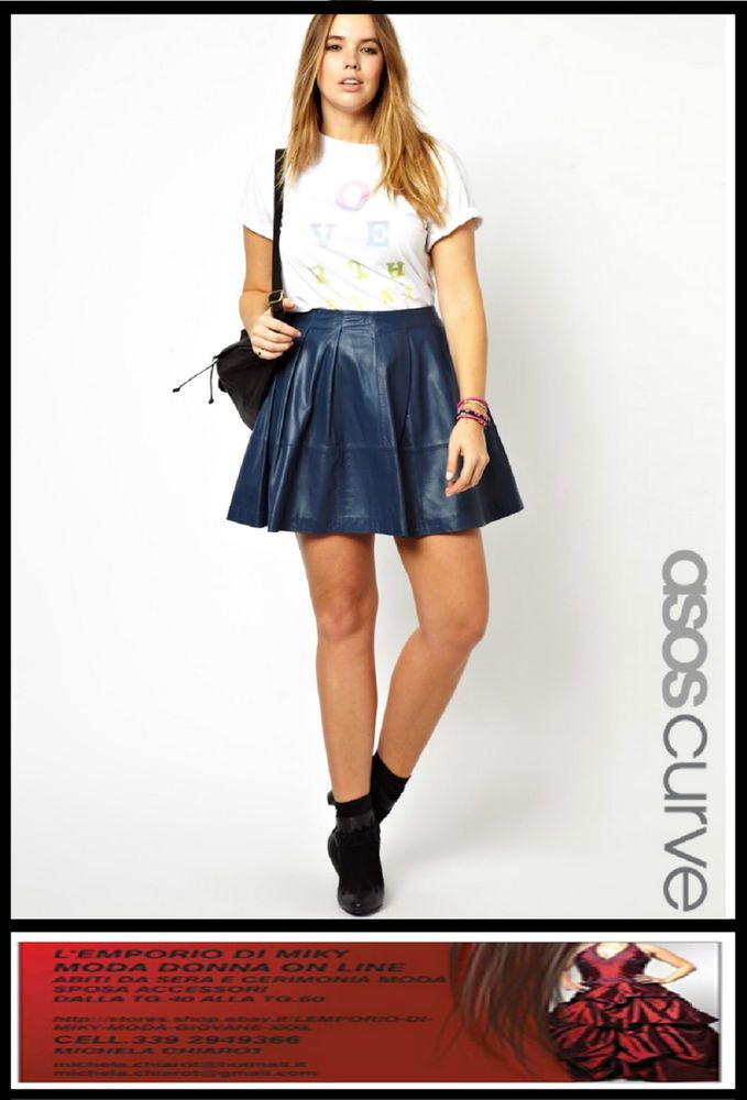 Asos Curve Mini Skater Skirt blue leather NEW size 22 24 26 xxl plus size NEW