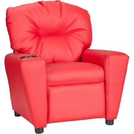 Flash Furniture Kids' Vinyl Recliner with Cup Holder, Multiple Colors, Red