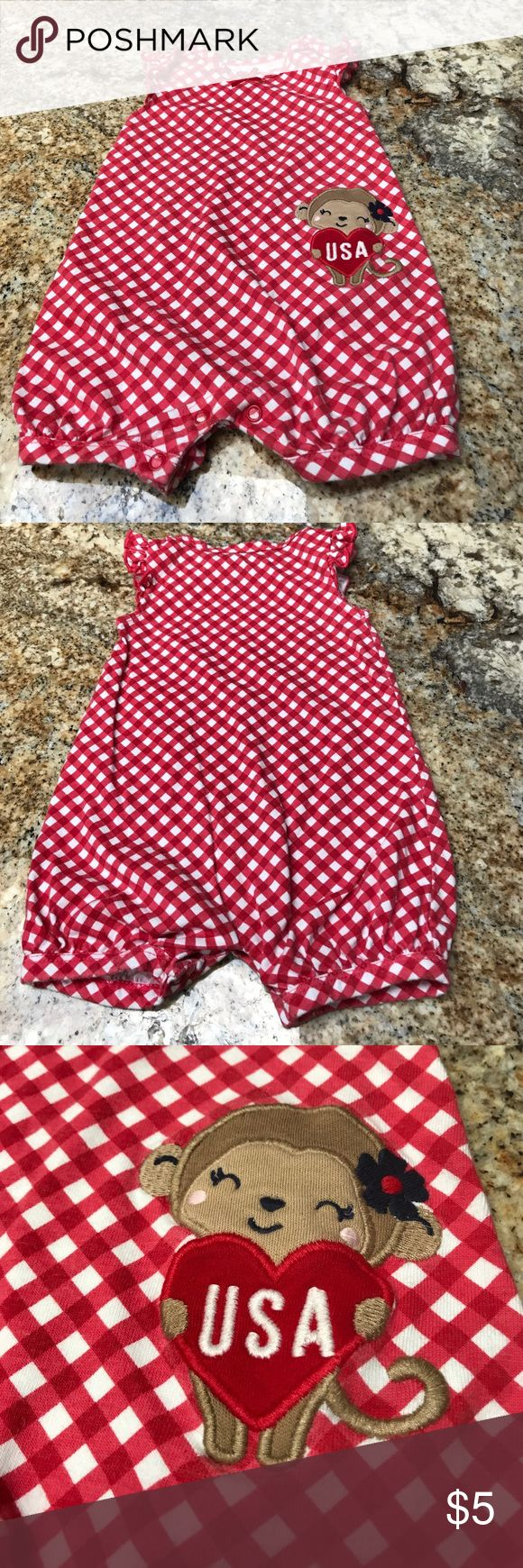 🇺🇸 USA Romper🇺🇸 Adorable USA Romper. Great for 4th of July. Worn twice, has some fading from washing. 💕bundle and save💕 Carter's Bottoms Jumpsuits & Rompers