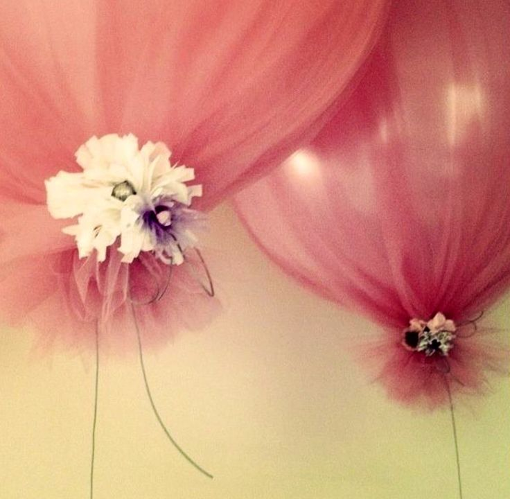 White balloon, black tulle, gold or red ribbon?
