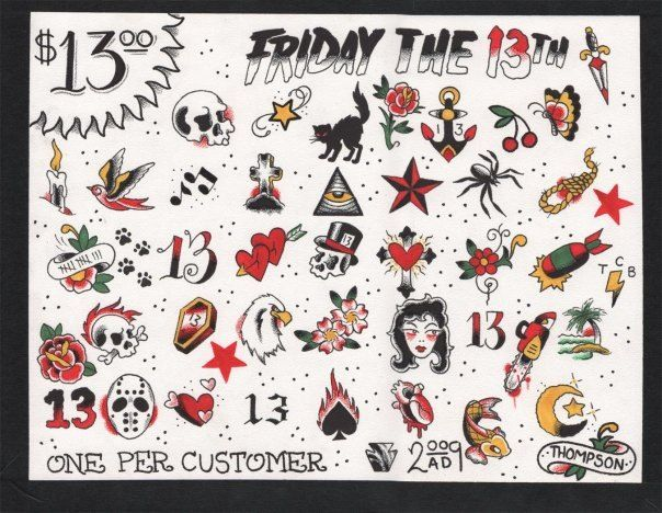 Friday The 13th #Tattoo Designs. I need to get one of these tomorrow for my 18th on Friday the 13th!!!