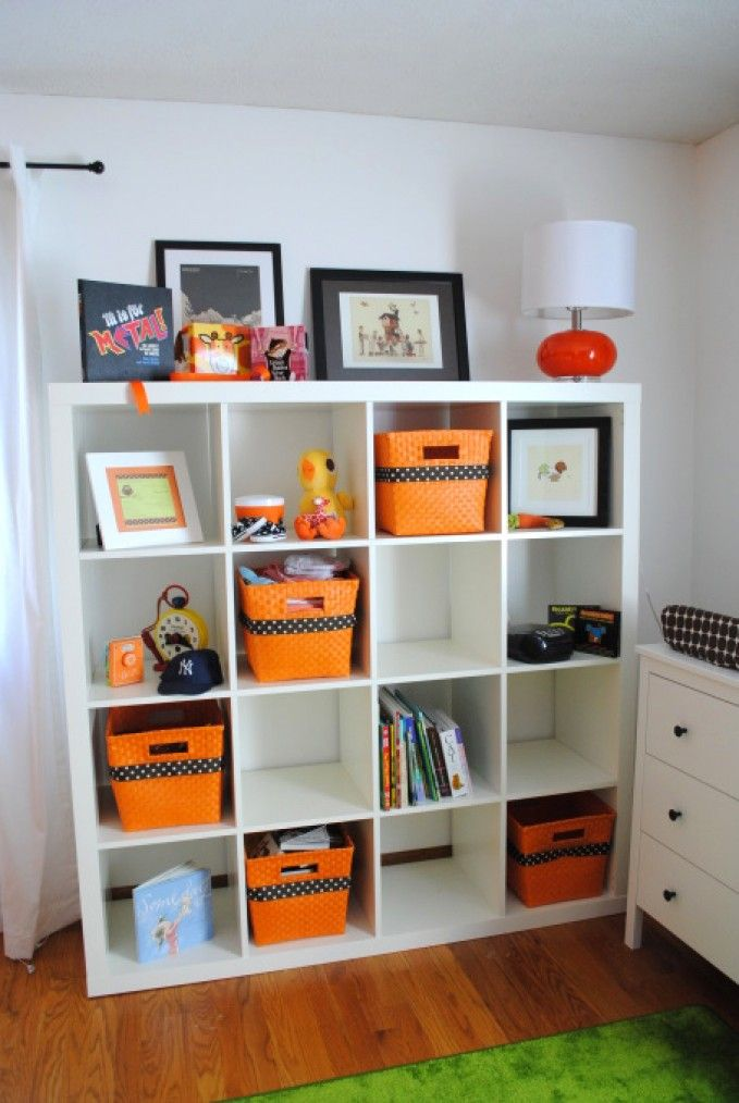 Genius Idea Ikea Expedit Shelves With Baskets For Storage: Expedit With Staggered Orange Baskets