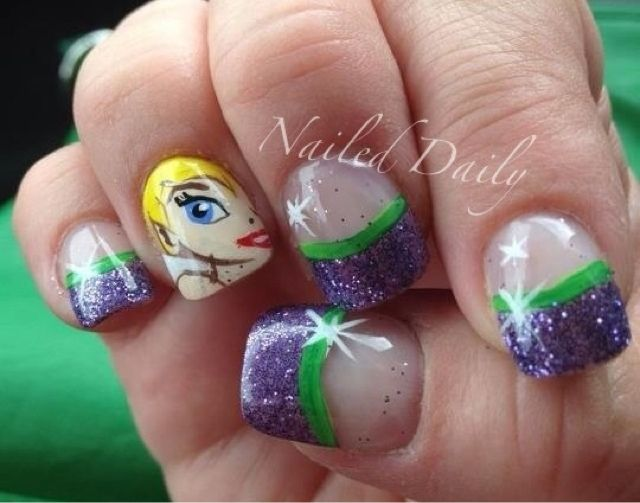 Nailed Daily  Day 261 - Tinkerbell French  58eca63407c3