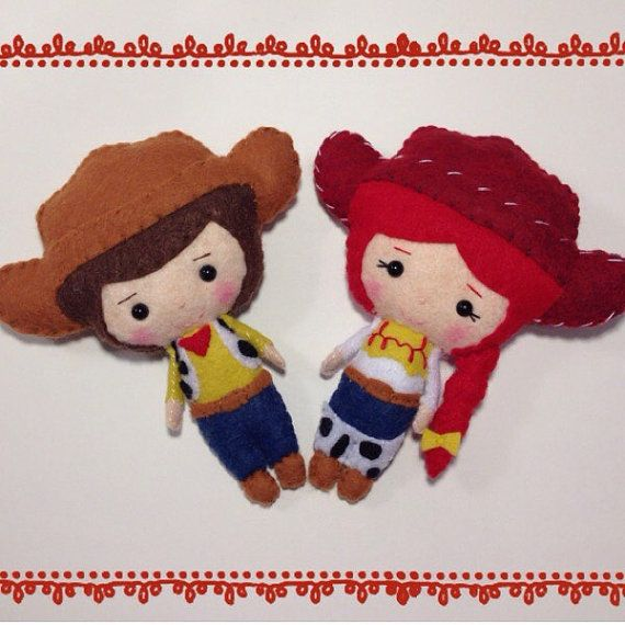 Woody and Jessie Toy Story Felt Plush Dolls  Woody and by RueVogue