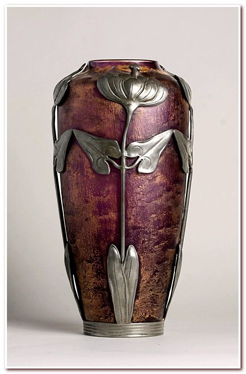 Acid Etched Art Nouveau Vase