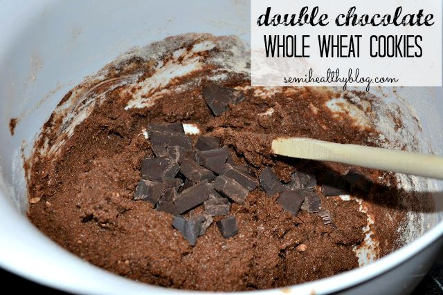 double chocolate whole wheat cookies