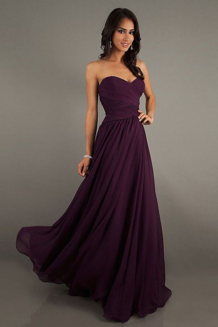 purple bridesmaid dress idea; via Vogue Prom Dresses