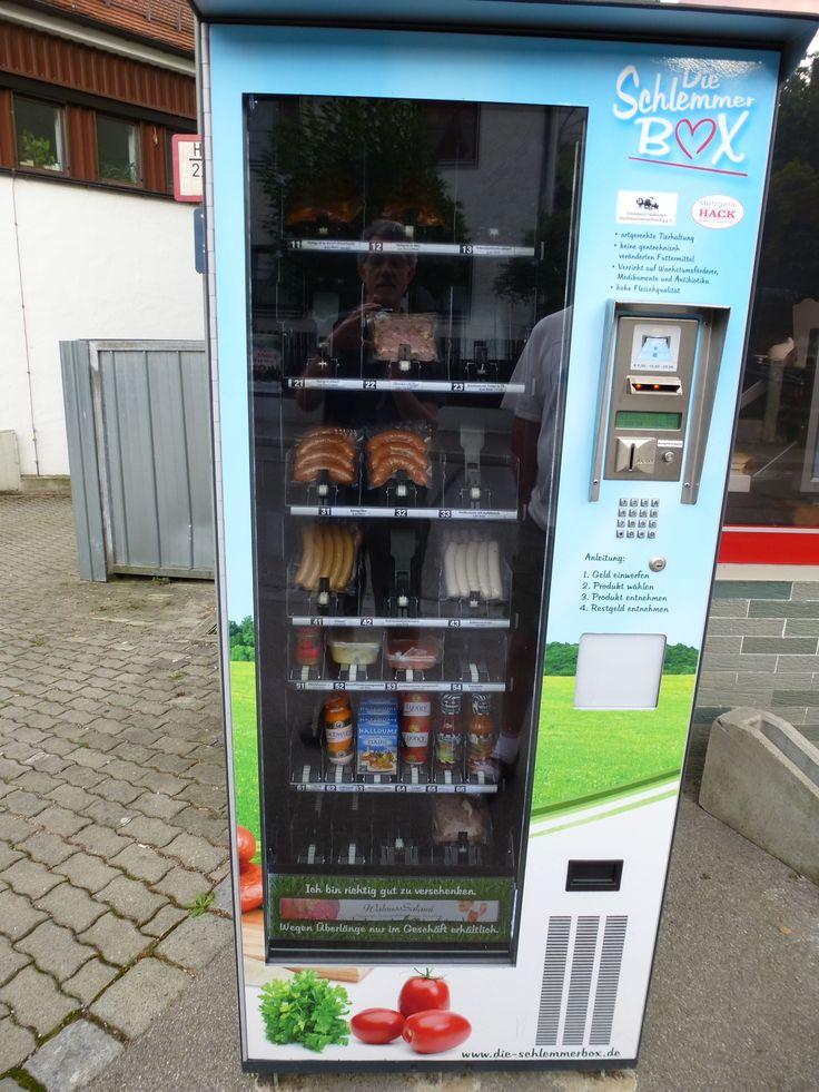 Meat vending machine in Freising, Germany.