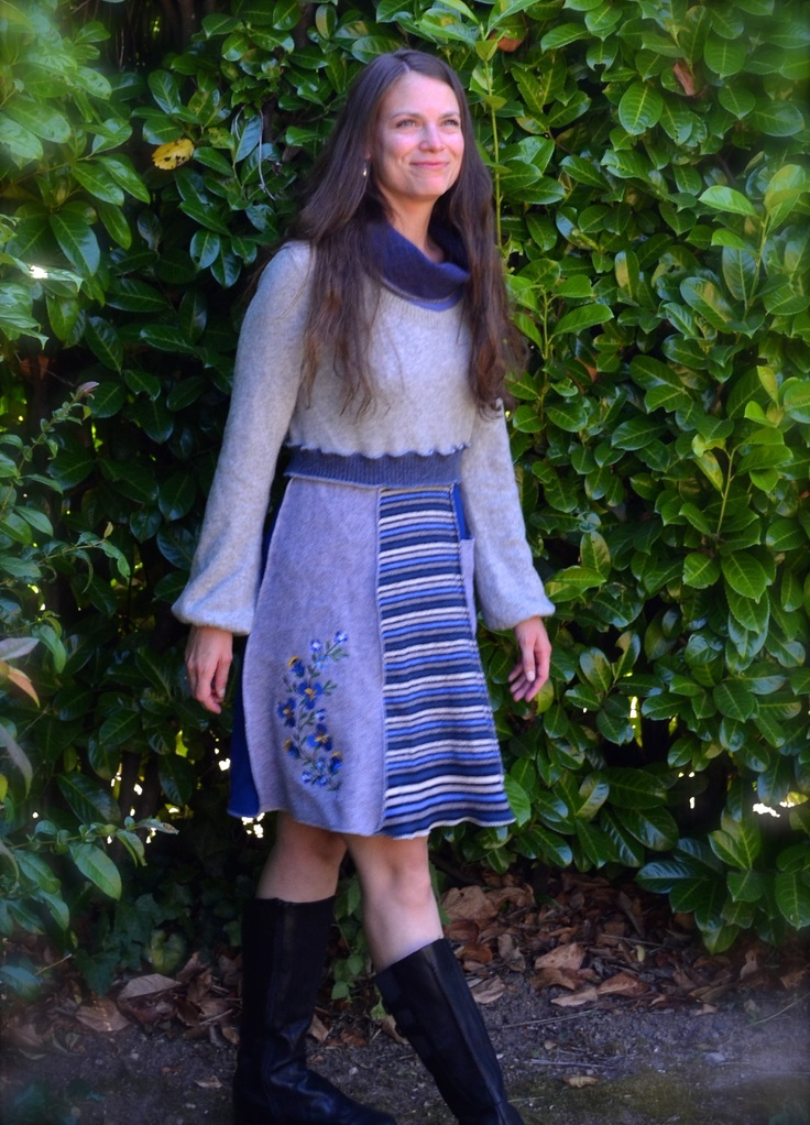Women's Tunic Dress with Embroidered Flowers Blue and Grey Cashmere and Wool Upcycled Clothing Cowl Neck Pocket Size Med. $149.00, via Etsy.