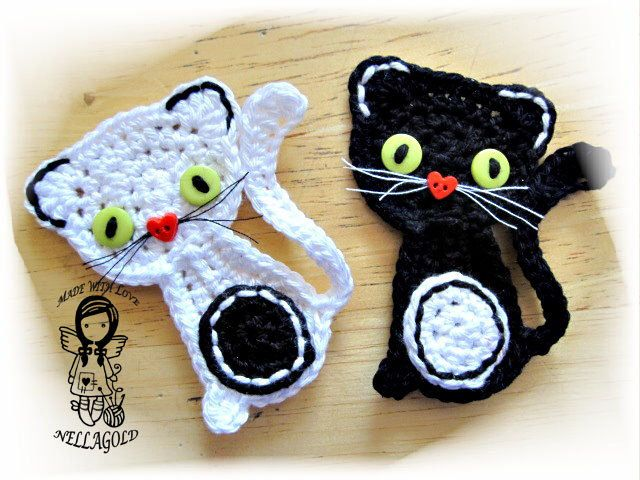 Crochet PATTERN,  Applique Kitty, Cat, Black or White, DIY Pattern 59 by NellagoldsCrocheting on Etsy https://www.etsy.com/listing/160953170/crochet-pattern-applique-kitty-cat-black