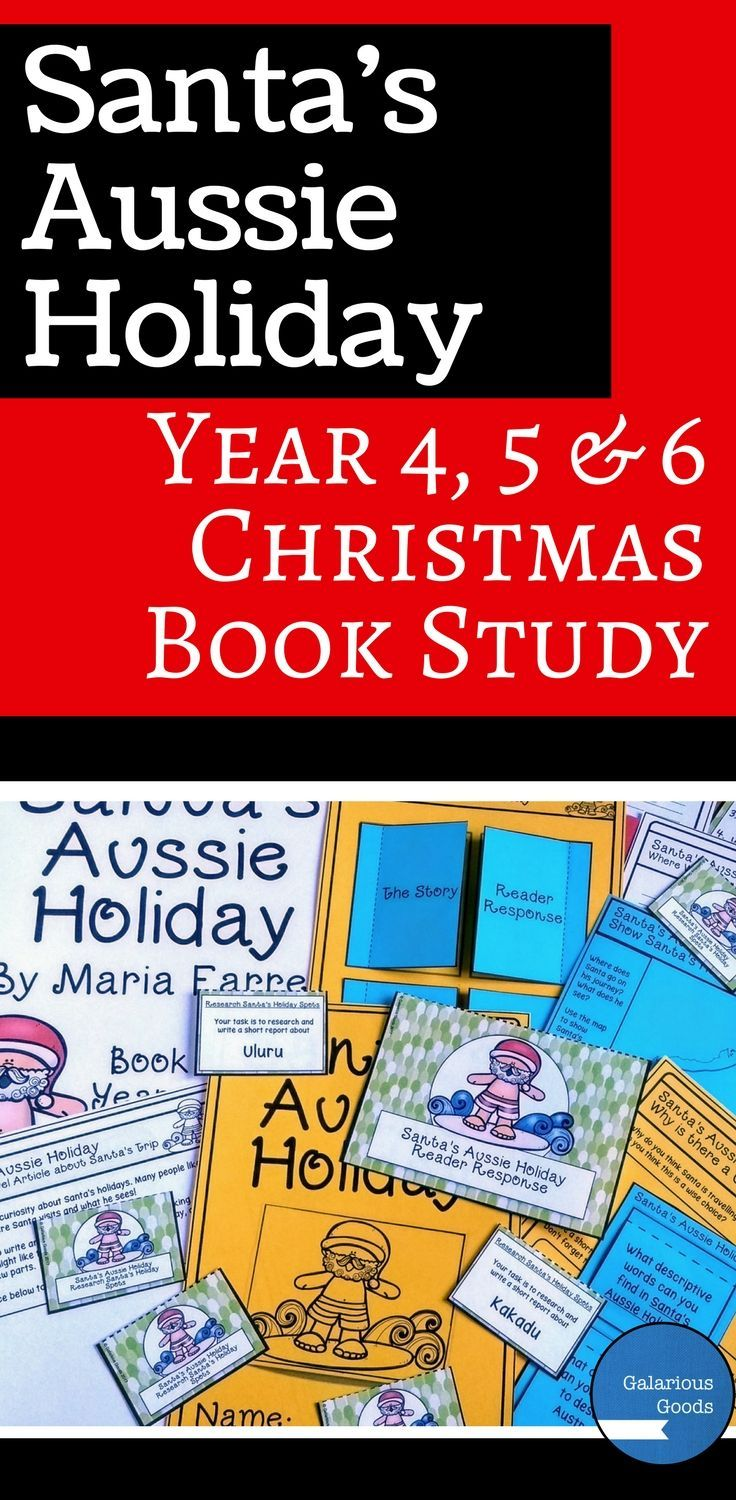 Teach an Australian Christmas in your classroom with this Australian Christmas picture book study. Look at Santa's Aussie Holiday by Maria Farrer with comprehension, reader response, mapping, text features and creative activities. Includes worksheets, task sheets, task cards and interactive notebook activities. #christmaslesson #christmasbook #australianchristmas #picturebook #teachingresources