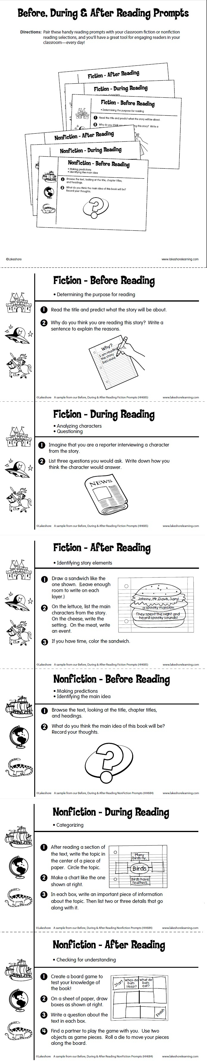 Before, During & After Reading Prompts Printable from Lakeshore Learning