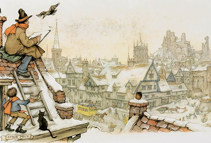 Painter on the Roof by Anton Pieck – Underappreciated Dutch Gem