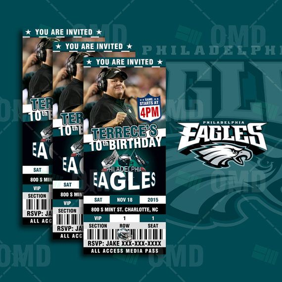 2.5x6 Philadelphia Eagles Sports Party Invitation by sportsinvites