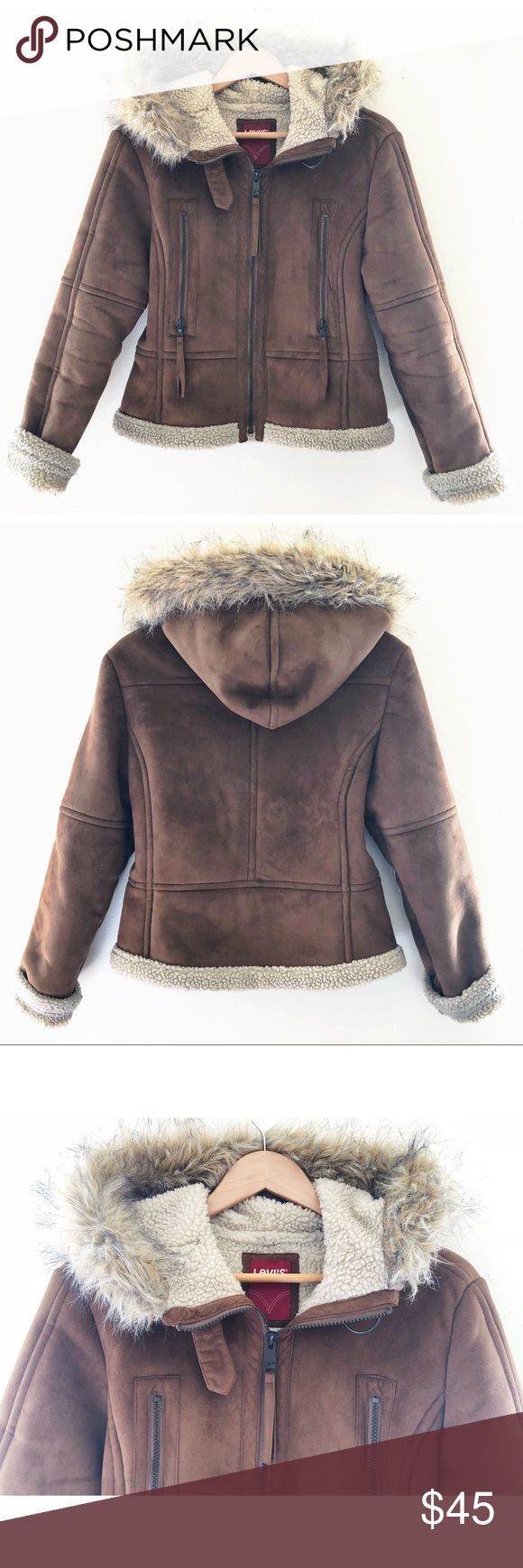 LEVI'S suede jacket Women's Levi's suede jacket. Sherpa lining and fur trim hood. Zipper closure with 2 a zip up side pockets. In great used condition. Levi's Jackets & Coats