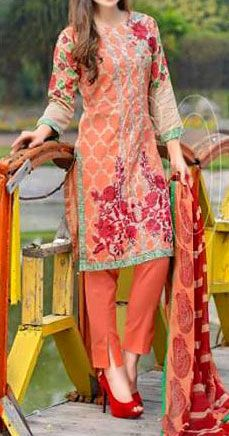 Buy Peach Embroidered Cotton Lawn Dress by Combinations 2016