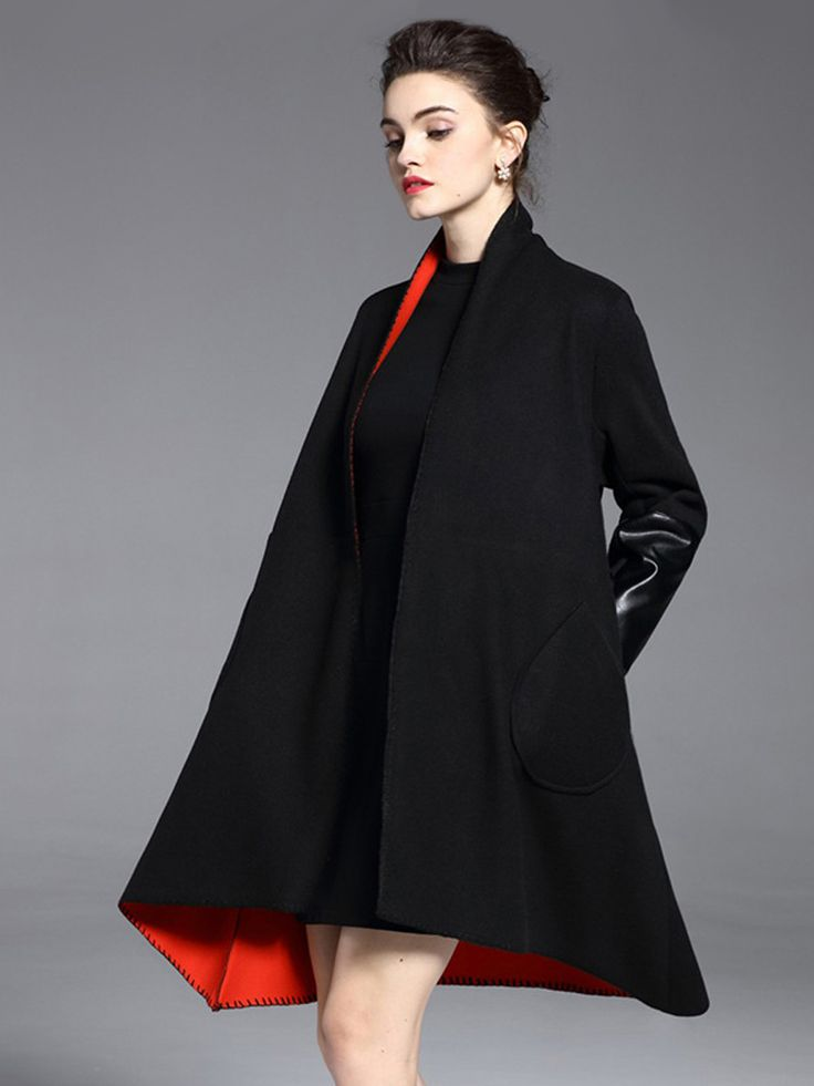 Kupuj tanio Women's Trench Coat Long Sleeve Open Front PU Patched Loose Fashion Outwear w Jollychic, Darmowa dostawa!