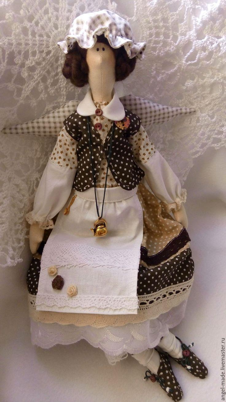 Купить кофейная феечка - коричневый, феечка, кукла интерьерная, кукла в подарок, кукла текстильная