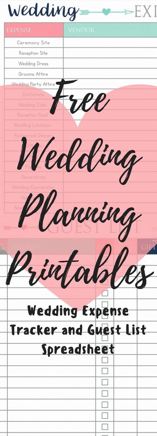 Wedding Budget planning printables