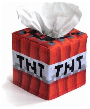 Minecraft-Inspired TNT Cube Tissue Box Cover by Snotty Bots - eclectic - kids decor - - by Etsy